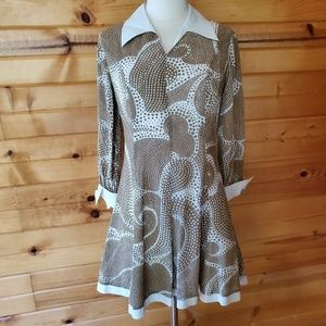 1960s Unlabeled Brown & White, Cotton/Poly Blend M